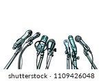 many microphones interview... | Shutterstock .eps vector #1109426048