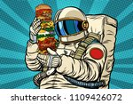 astronaut with a giant burger.... | Shutterstock .eps vector #1109426072