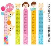 measured height set with girl ...   Shutterstock .eps vector #1109435012