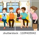 old women standing in electric... | Shutterstock .eps vector #1109435042
