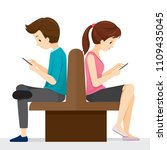 woman and man sitting back to...   Shutterstock .eps vector #1109435045