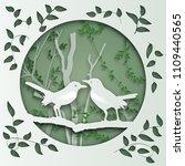 two bird on tree branch in... | Shutterstock .eps vector #1109440565