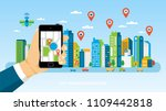 mobile navigation concept with... | Shutterstock .eps vector #1109442818