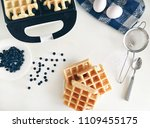 making belgian waffles at home  ... | Shutterstock . vector #1109455175