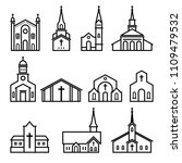church   building icon in... | Shutterstock .eps vector #1109479532