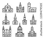church   building icon in... | Shutterstock .eps vector #1109479535
