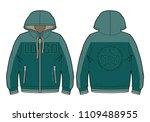 hooded sport sweatshirt with...   Shutterstock .eps vector #1109488955