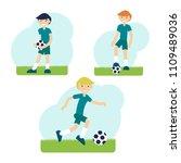 vector cartoon soccer players | Shutterstock .eps vector #1109489036