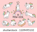 Stock vector set of lovely cat unicorn 1109495132