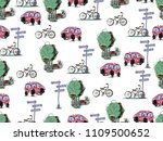 vector hand drawn cars and... | Shutterstock .eps vector #1109500652
