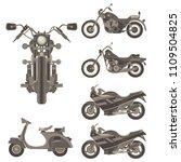 vintage vector motorcycle set... | Shutterstock .eps vector #1109504825