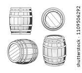 vintage oak barrel. etching... | Shutterstock .eps vector #1109506292