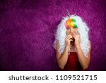 freaky young woman in unusual... | Shutterstock . vector #1109521715