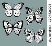 set decorative butterflies. set ... | Shutterstock .eps vector #1109526008