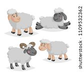 cute sheeps and rams in various ... | Shutterstock .eps vector #1109532362