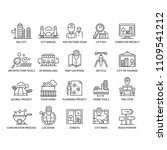 thin line city icons and... | Shutterstock .eps vector #1109541212