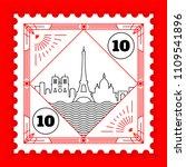 paris city line style postage... | Shutterstock .eps vector #1109541896