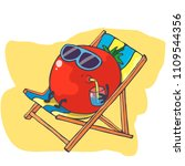 happy tomato relaxes on the... | Shutterstock .eps vector #1109544356