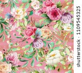 beautiful  watercolor floral... | Shutterstock . vector #1109545325
