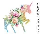 beautiful  colofrul unicorn ... | Shutterstock . vector #1109545328