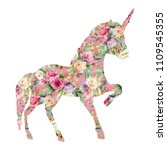 beautiful unicorn  magic horse  ... | Shutterstock . vector #1109545355