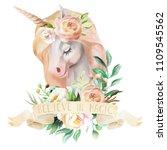 beautiful  cute  watercolor... | Shutterstock . vector #1109545562