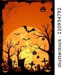 grunge halloween night... | Shutterstock .eps vector #110954792