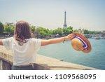 handsome girl tourist in paris... | Shutterstock . vector #1109568095