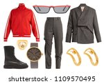 collage of women's clothing  | Shutterstock . vector #1109570495