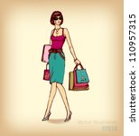 illustration shopping girl.... | Shutterstock .eps vector #110957315
