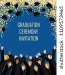 graduation poster with happy... | Shutterstock .eps vector #1109573465