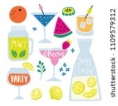 set of hand drawn alcoholic and ... | Shutterstock .eps vector #1109579312