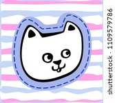 hand drawn simple doodle cat...   Shutterstock .eps vector #1109579786