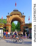 Small photo of COPENHAGEN, DENMARK -15 MAY 2018- View of the Tivoli Gardens (Tivoli), a landmark historic amusement park and garden in Copenhagen, Denmark.