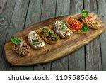 bruschetta set made of tomato ... | Shutterstock . vector #1109585066