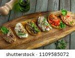 delicious italian antipasti... | Shutterstock . vector #1109585072
