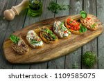 classic italian antipasti... | Shutterstock . vector #1109585075