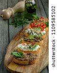antipasto bruschetta set made... | Shutterstock . vector #1109585102