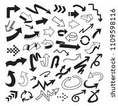 vector set of arrow doodle on... | Shutterstock .eps vector #1109598116