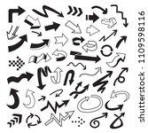vector set of arrow doodle on... | Shutterstock .eps vector #1109598116