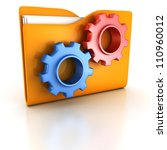concept orange office folder with working blue and red gears - stock photo