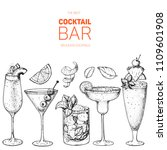 cocktails hand drawn vector... | Shutterstock .eps vector #1109601908
