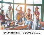 happy friends doing vegetarian... | Shutterstock . vector #1109614112