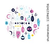 hand drawn magical esoteric... | Shutterstock .eps vector #1109615456