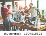 happy friends doing vegetarian... | Shutterstock . vector #1109615828