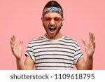 depressed unshaven fashionable... | Shutterstock . vector #1109618795