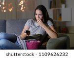 nervous spectator watching tv... | Shutterstock . vector #1109626232