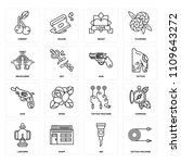 set of 16 icons such as tattoo...