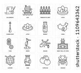 set of 16 icons such as dragon  ...