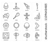 set of 16 icons such as... | Shutterstock .eps vector #1109643485